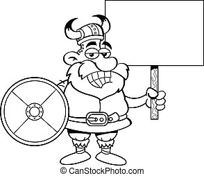 Viking Holding a Sign - Black and white illustration of a...