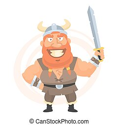 Viking holds sword and smiling