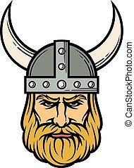 viking, hoofd, (mascot, horned, helmet), spotprent