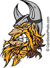 viking, hoofd, spotprent, mascotte