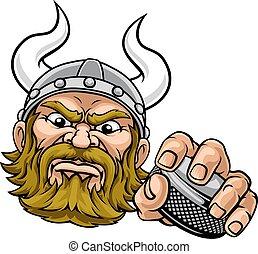 Viking Ice Hockey Sports Mascot Cartoon