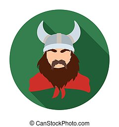 Viking icon in flat style isolated on white background. Vikings symbol stock vector illustration.