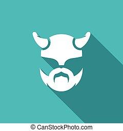 Viking icon. Vector Illustration. - Vector Isolated Flat...