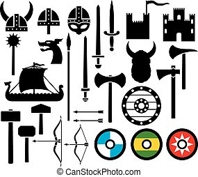 viking icons collection (sword, round wooden shield, long ...
