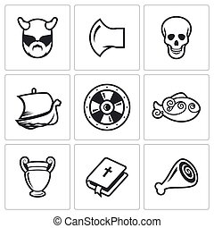 Viking Icons. Vector Illustration.
