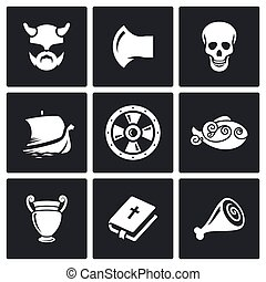 viking, icons., vettore, illustration.
