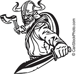 viking, illustration., -, vector, vinyl-ready., nórdico