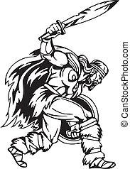 viking, illustration., -, vector, vinyl-ready., nórdico