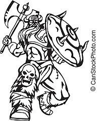 viking, illustration., -, vector, vinyl-ready., noords