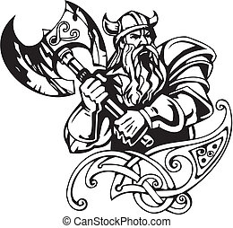 viking, illustration., -, vector, vinyl-ready., noords