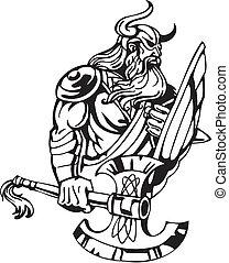 viking, illustration., -, vektor, vinyl-ready., nordisk
