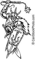 viking, illustration., -, vetorial, vinyl-ready., nordic