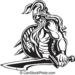 viking, illustration., -, vettore, vinyl-ready., nordico