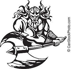 viking, illustration., -, vettore, vinyl-ready., nordico