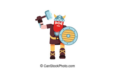 Viking in a horned helmet with a hammer and a shield is...