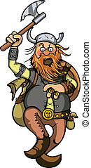 Viking in attack - Cartoon furious viking with axe in attack...