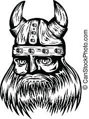 viking in helmet