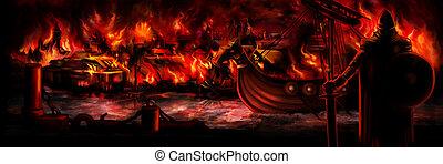 viking, invasion, bannière