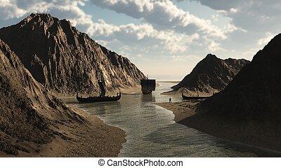 viking, islandés, entrada, longships