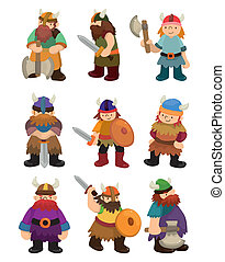 viking, kalóz, állhatatos, ikon, karikatúra