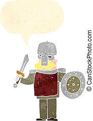 viking, karikatúra, retro, ember