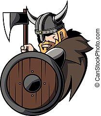 viking, kriger, konstruktion, illustration