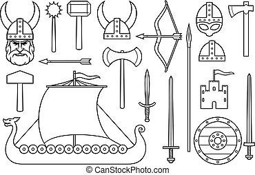 viking, línea fina, iconos, colección, (sword, redondo, de madera, protector, largo, barco, cabeza, con, enastado, casco, macis, martillo, flecha, arco, hacha, torre, viejo, castle)