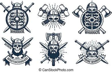 Viking logo set in retro stamp style