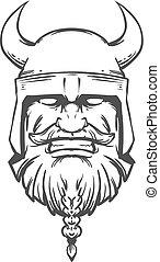 viking, logo, tête