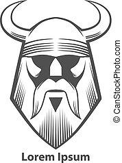 viking, logotipo, cabeza