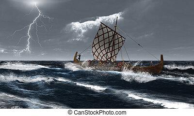 viking, longship, atlantique, stor
