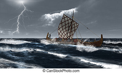 Viking Longship in an Atlantic Stor - Viking longship in a...