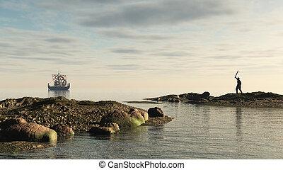 viking, longship, retour foyer