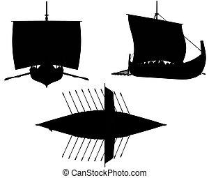Viking Longship Silhouettes - Oars