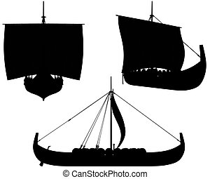 Viking Longship Silhouettes