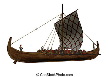 Viking Longship - Viking longship isolated on white, 3d...
