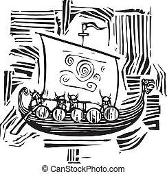 Viking LongShip Woodcut