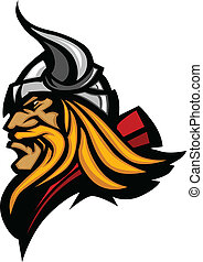 Graphic Mascot Vector Image of a Viking Norseman Profile with Helmet