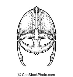 Viking medieval helmet. Engraving vintage black illustration.