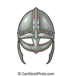 Viking medieval helmet. Engraving vintage color illustration.