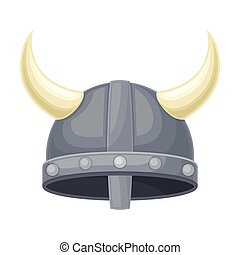 Viking Metal Hat with Horns as Funky Headgear Vector Illustration