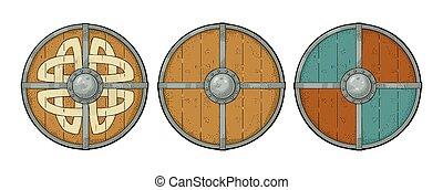 viking, metszés, állhatatos, border., erdő, kerek, runes, vas, védőlemez