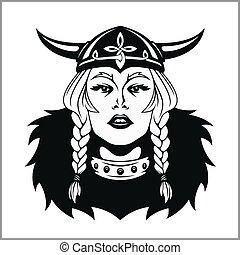 viking, mujer, warrior., vector, ilustración