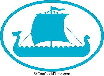 viking nakládat na loď, ikona