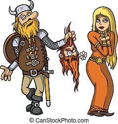 viking, niña, amor, bajas