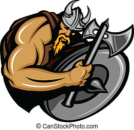 Cartoon Nordic Viking or Barbarian Vector Mascot wearing a horned Helmet
