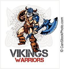 Viking norseman mascot cartoon with ax and shield