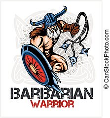 Viking norseman mascot cartoon with bludgeon and shield