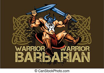 Viking norseman mascot cartoon with two swords