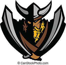 Viking Norseman Mascot Graphic with - Cartoon Nordic Viking...